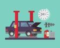 Car service. Auto diagnostics and transport repair. Vector illustration.