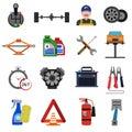 Car Service Icons Flat Set
