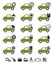 Car service icons green set Stock Images