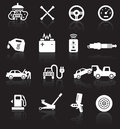 Car service icons white on black background with reflections Stock Image