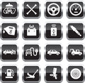 Car service icons white on glossy square buttons Stock Images