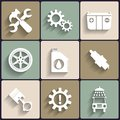 Car service maintenance vector flat icon set this is file of eps format Stock Image