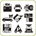 Car service set of vector icons vinyl ready Stock Photos