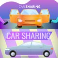 Car sharing banner set, cartoon style