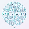 Car sharing concept in circle