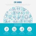 Car sharing concept in half circle