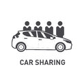 Car Sharing. Group of people behind car. Flat design. Line icon