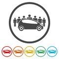 Car Sharing icon, Car sharing Symbol, 6 Colors Included Royalty Free Stock Photo