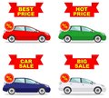 Car showroom. Big sale. Hot price. Set of discount icons for cars. Colored business class automobile isolated on white Royalty Free Stock Photo