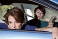 Car sick close up of passenger women being Stock Photography