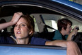 Car sick close up of passenger women being Royalty Free Stock Image