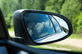 Car side mirror of a passenger rear view Stock Images