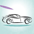 Car silhouette blue background Royalty Free Stock Photo