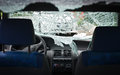Car with smashed windshield interior of shattered Royalty Free Stock Photo
