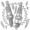 Car spark plug vector