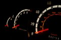 Car speedometer a photograph of and rev counter on cars dashboard Royalty Free Stock Image