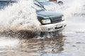 Car splash flood Royalty Free Stock Photo