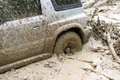 Car stuck in mud Royalty Free Stock Photo