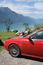 Car in swiss mountains Stock Photos
