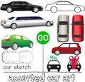 Car symbols auto transportation set of and and drawings Stock Photography