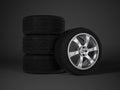 Car tire with aluminum alloy wheel Royalty Free Stock Photo
