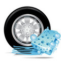 Car tire with blue sponge and water trace Royalty Free Stock Photo