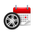Car tire and calendar Stock Photography