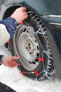 Car tire chains Royalty Free Stock Images