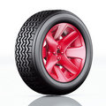 Car tire with red rim