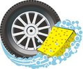 Car tire with sponge Stock Image