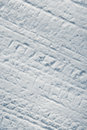 Car tire tracks in snow