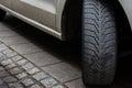 Car Tire Turned Sidewalk Parked Black White Asphalt Road Dirty U Royalty Free Stock Photo