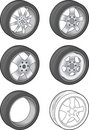 Car Tires - Vector Illustration Stock Photos