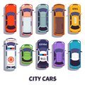 Car top view. City vehicle transport. Automobile cars for transportation, from above auto car vector isolated icons