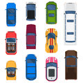 Car top view vector set. Royalty Free Stock Photo