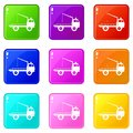 Car towing truck icons 9 set