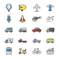 Car and Transportation Color Icons Set Of Vector Illustration Style Colorful Flat Icon Royalty Free Stock Photo