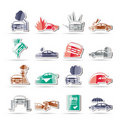 Car and transportation insurance and risk icons Royalty Free Stock Photo