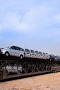 Car transportation new cars in a oversize vehicle waitting for shipping Royalty Free Stock Photography