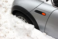 Car trapped under snow Royalty Free Stock Photo