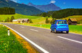 Car travel alps summer landscape Stock Photo