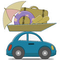 Car travel small passenger loaded with things for beach holidays Royalty Free Stock Image