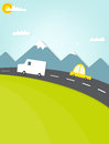 Car traveling on the road in the mountains Royalty Free Stock Photography