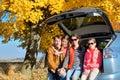Car Trip On Autumn Family Vaca...
