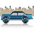 Car tuning colorful illustration with tuned passing through the city Royalty Free Stock Photography