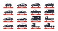 Car Type and Model Objects icons Set, automobile. Vector black illustration on white background with shadow. Variants of
