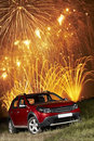 Car under fireworks Royalty Free Stock Photo