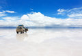 Car on the Uyuni Salar in Bolivia Stock Photos