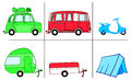 A car van and scooter with camping commodities caravan camper tent three different vehicles their respective possibilities Stock Photos