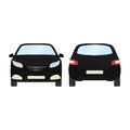 Car vector template on white background. Business hatchback isolated. black hatchback flat style.front and back view